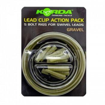 Набор безопасная клипса Korda Lead Clip Action Pack Gravel