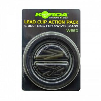Набор безопасная клипса Korda Lead Clip Action Pack Weed