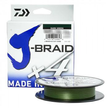 Плетеный шнур DAIWA J-BRAID X4 135 м. 0.21 мм. DARK GREEN