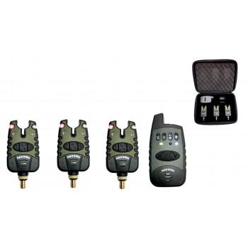 Набор электронных сигнализаторов поклевки с пейджером Sokudo (аналог Hoxwell) HL 52 (3+1)