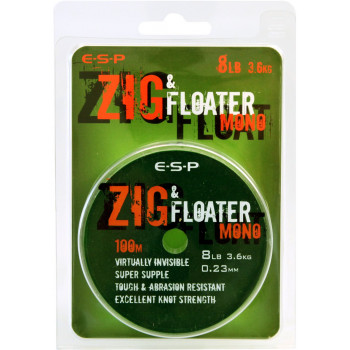 Леска нейтральной плавучести E-S-P ZIG & FLOATER Mono - 100m / 0,23mm / 8lb (3,63kg) - Clear