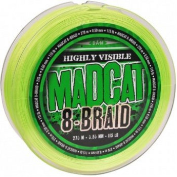 Леска плетеная MADCAT® 8-BRAID HI-VIS YELLOW - 0.40mm / 90lb / 270m
