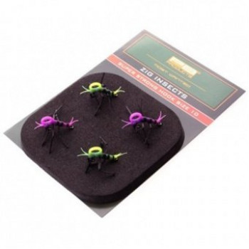 Готовая оснастка для Zig Rig PB Products ZIG INSECTS Super Strong №10 - Yellow/Pink - 4шт.