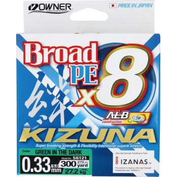 OWNER Шнур Kizuna X8 Broad PE green 275м 0,33мм 27,2кг