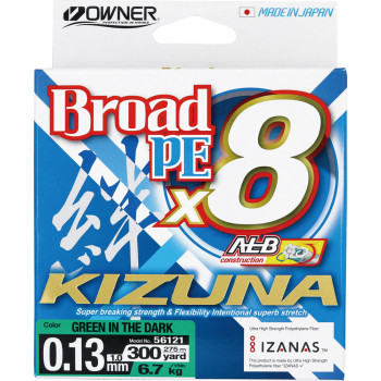 OWNER Шнур Kizuna X8 Broad PE green 275м 0,13мм 6,7кг