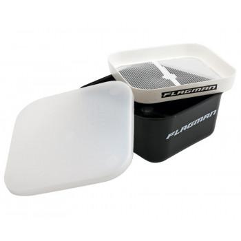 FLAGMAN Коробка для мотыля с ситом и крышкой 166х166х75мм