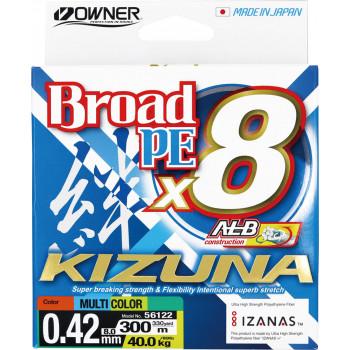 OWNER Шнур Kizuna X8 Broad PE multi color 10м 300м 0,42мм 40кг