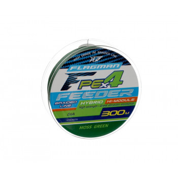 FLAGMAN Шнур PE Hybrid F4 Feeder 300м Moss Green 0,14мм 7,7кг