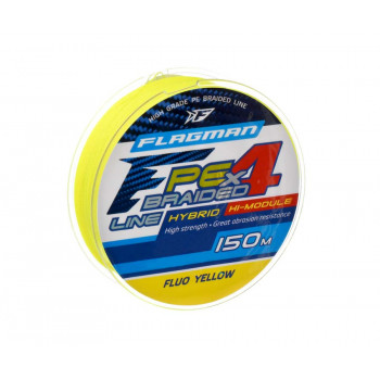 FLAGMAN Шнур PE Hybrid F4 150м Fluo Yellow 0,26мм 12,7кг 28lb