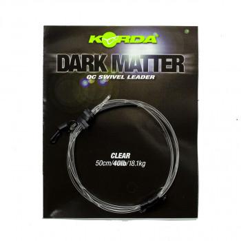 KORDA Готовый монтаж Dark Matter Leader QC Swivel 50см Clear 40lb