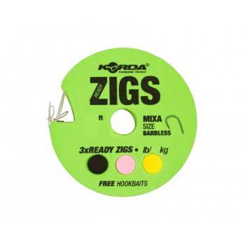 KORDA Поводок готовый Ready Zigs Barbless 8' 240см №10 3шт безбородый