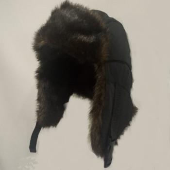 Шапка-ушанка с регулировкой размера меховая ВОЛК черная
