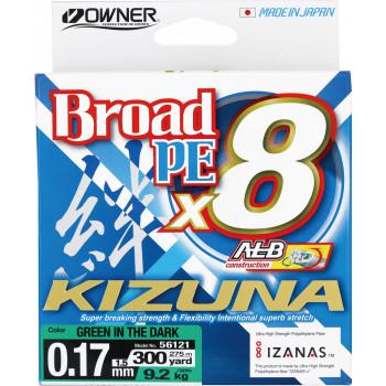 OWNER Шнур Kizuna X8 Broad PE green 275м 0,17мм 9,2кг