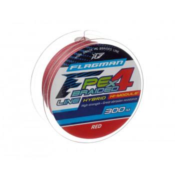 FLAGMAN Шнур PE Hybrid F4 300м Red 0,45мм 29,5кг 65lb