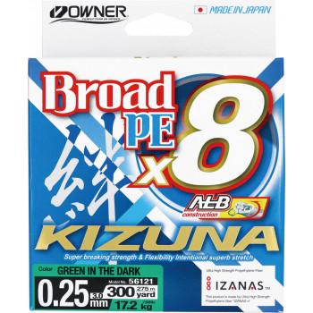 OWNER Шнур Kizuna X8 Broad PE green 275м 0,25мм 17,2кг